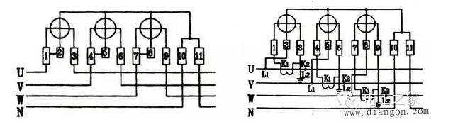 单相电表和三相四线电表接线图